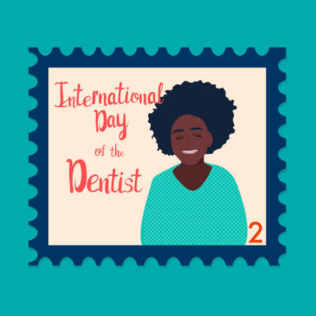 Orthodontic themed postage stamp.International day of the dentist. Afro-american girl with braces or orthodontic metal retainers on her teeth.Oral care and daily routine.Bite correction.Retro vector