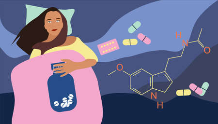 Insomnia concept. Melatonin tablets with chemical formula. Young woman lying in bed and has sleep disorder. Addiction of pills,hypochondria.Stress, nervous strain. Sleepless medical problem. Vector