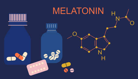 Melatonin tablets with hormone chemical formula. Insomnia concept. Night time and sleep disorder. Addiction of pills,hypochondria.Stress, nervous strain.Sleepless problem.Medicine diffuser.Flat vector