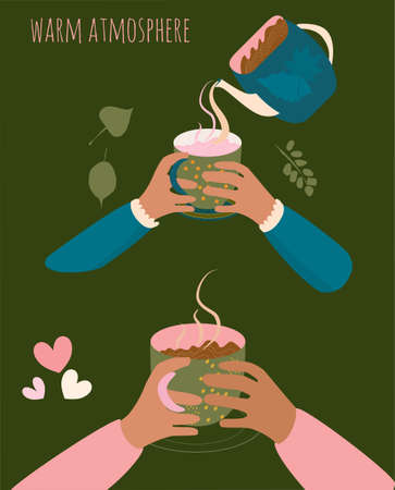 Two pair of hands holding cups with hot drink. Milk,tea,cacao or coffee is pouring from the kettle.There is steam from a mug. Cozy mood and warm atmosphere vector flat illustration. Menu decoration