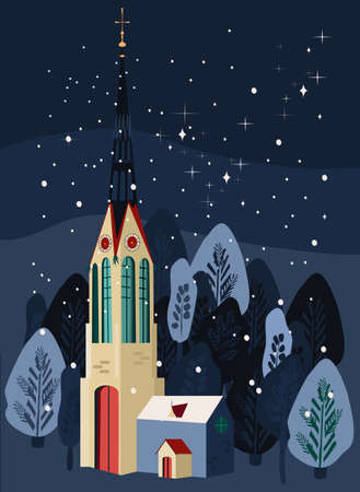 Cute winter illustration with gothic catholic church and clock tower.Snowflakes falling on forest, powdered Christmas trees.Trendy template for greeting card,flyer,sale.Travelling in Europe