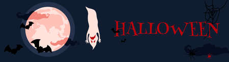 Halloween night spooky horizontal banner with ghosts,spirits with scary masked faces,horrible facial expressions fly.Phantoms party.Bloody red clouds,full moon, silhouettes of bats,spiders, cobwebs 免版税图像 - 153627374