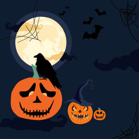 Halloween scary night.Jack o lanterns with weird facial expressions in witch hat. Gothic full moon with dark clouds. Raven or crow sitting on pumpkin. Flying bats and cobwebs around.Day of the Dead
