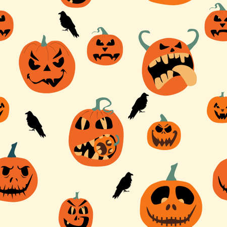 Halloween spooky night seamless pattern with various pumpkins and crows. Jack o lanterns with weird facial expressions.Day of the Dead. Vector party invitation,print for fabric.Scared emotion 矢量图像