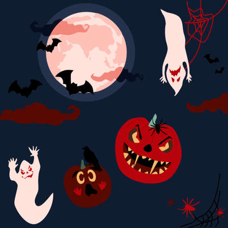 Halloween night spooky card with ghosts,spirits with scary masked faces,pumpkins horrible facial expressions fly.Phantoms party.Bloody red clouds,Jack o lanterns,full moon,silhouettes of bats,spiders 矢量图像