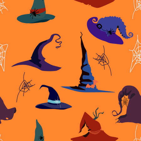 Halloween seamless pattern with witch pointed hats of different styles.Decor in the form of a spiders,cobwebs,bats.Torn edges,holes in the fabric.Festival costume for the sorceress.Creepy night party 免版税图像 - 153627379