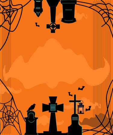 Cemetery with graves and crosses.Halloween greeting card.Spiders and creepy cobwebs around tomstones.Religion dark crosses.Day of the Dead.Trendy vector template,party invitation on orange background 矢量图像