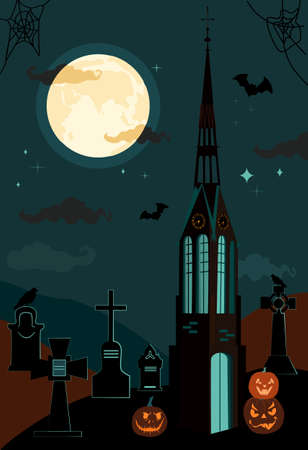 Halloween gothic catholic church and clock tower.Bats in the twilight sky,full moon and terrible pumpkins. Luminous Jack-o-lanterns. Night party on cemetery,tombstones with crosses. Vector poster 矢量图像