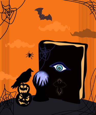 Halloween scary night illustration. Magic spell book and Crystal Ball or fortune teller.Day of the dead.Sunset with dark bats,cobwebs,black raven sits on Jack-o'-lantern. Conjure,make a prediction.