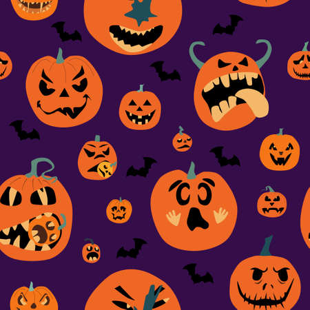 Halloween spooky night seamless pattern with various pumpkins. Jack o lanterns with weird facial expressions eating each other.Day of the Dead. Vector party invitation,print for fabric.Scared emotion