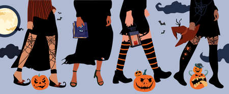 Set of four pairs female legs in fishnet stockings and boots.Halloween festival.Girls in witch costumes,black flowing dresses with torn edges,pointed hats.Hands hold attributes of the day of the dead