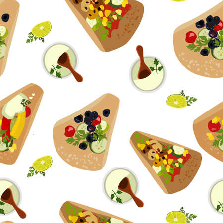 Tacos with fillings,guacamole sauce and lemon slice seamless pattern. Flatbread or tortillas from corn or wheat flour. Vegan dish. Delicious appetizer,mexican traditional food. Flat style vector 免版税图像 - 153354399
