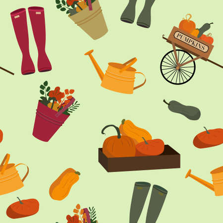 Autumn harvest seamless pattern with wooden cart full of pumpkins,a box of squashes and bucket of flowers.Rubber boots and watering can in rustic style.Flat vector illustration for fabric,note cover