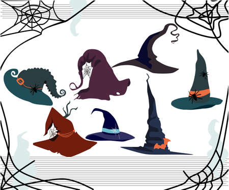 Halloween card with witch pointed hats of different styles.Decor in the form of a spiders,cobwebs,bats.Torn edges,holes in the fabric.Festival or party costume for the sorceress.Creepy Day of the Dead