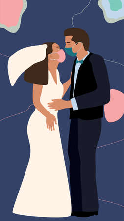 Quarantine coronavirus wedding.Man and woman in love, get married. Couple wearing face masks,holding each other.Save the date concept of 2019-nCoV. Virtual ceremony.The end of the pandemic.Second wave