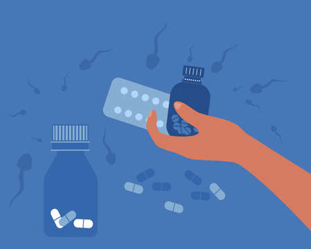 Birth control pill concept.World contraception day. Prevention HIV and AIDS.Spermatozoa swim around.Human hand holding medicine jars, tablets in Blister Packs.