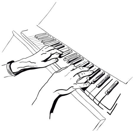 Male hands playing piano illustration in engraving style.Musical instrument with keys.Pianist with wedding ring. Scratch board imitation.Clavichord tune or synthesizer ink hand drawn vector 免版税图像 - 153781639