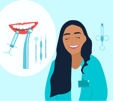 Caucasian orthodontics smiling and advertises treatment in clinic.Root canal filling,oral cavity disease poster.Template with dental tools and instruments.Young woman is a doctor in medical gown.