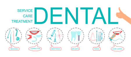 Dental word vector infographic illustration with icons for orthodontic treatment and care,stomatological tools,implants,tooth with caries,oral hygiene.Bubble messages for every part of dental business