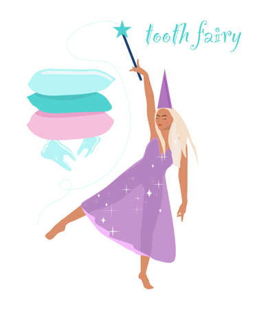 Tooth fairy holding a magic wand.Princess dancing in a transparent shiny dress barefoot.Milk teeth under a stack of pillows.Congratulations for baby and parents.Vector poster for children's dentistry 免版税图像 - 154346571