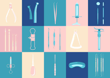 Dental tools and instruments icons set.Orthodontic prosthetics and filling, treatment of diseases of the oral cavity and caries.Tweezers,probe,spatula,drill and others colourful vector for clinic