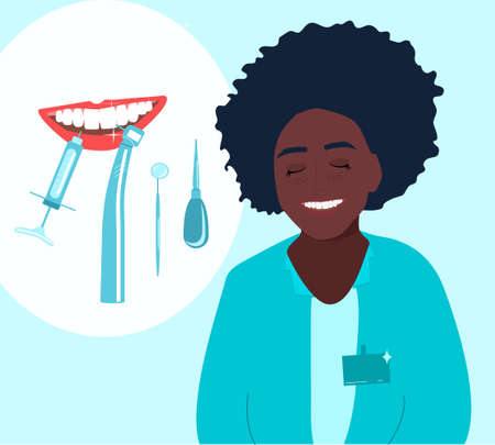 Afro american orthodontics smiling and advertises treatment in clinic.Root canal filling,oral cavity disease poster.Template with dental tools and instruments.Young woman is a doctor in medical gown.
