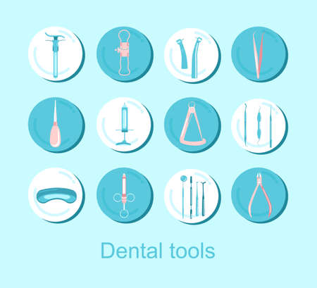 Dental tools.12 round icons set.Orthodontic prosthetic and filling, treatment of diseases of the oral cavity and caries.Tweezers,probe, spatula, dental crown micrometer.Vector for clinic 矢量图像