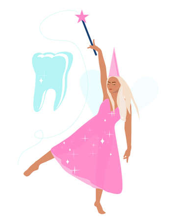 Tooth fairy holds a magic wand,advertises root canal treatment,implants.Princess dancing in transparent shiny dress barefoot.Congratulations for baby and parents.Vector poster for children's dentistry Illustration