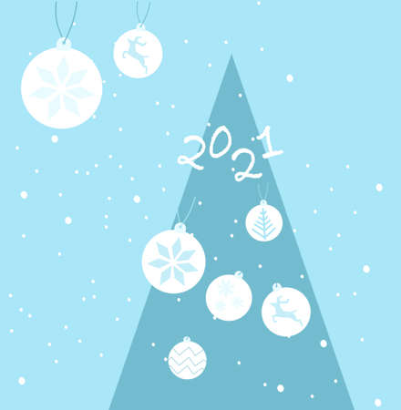 Happy New Year 2021 postcard.Christmas tree decorate with different santa hats. Snowflakes around. 免版税图像 - 154450857