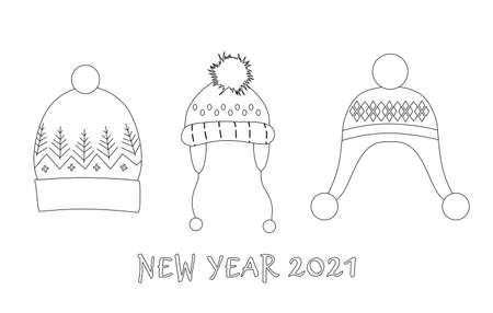 Knitted headwear collection,cosy scandinavian winter hats and caps.Line art Happy New Year 2021 and Christmas postcard.Childish accessory with pom poms,snowflakes,geometric ornaments.Sale concept 矢量图像