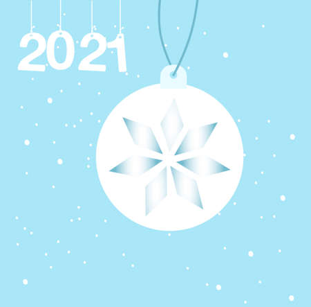 Christmas tree toy with geometric snowflake. Happy New Year 2021 greeting card or promo flyer. Winter family holidays celebration. Vector illustration in flat style.Xmas eve in warm atmosphere. 矢量图像