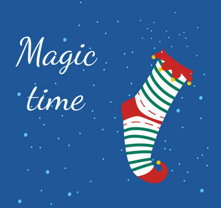 Striped elf sock or stocking with ruffles and bells.Merry Xmas and Happy New Year 2021 gift card.Traditional festive Christmas colors. Magic winter time for family reunion. Special offer coupon or flyer 矢量图像