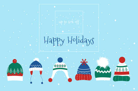 Knitted headwear collection,warm scandinavian winter hats and caps.Merry Christmas and Happy New Year 2021 promo sale flyers.Traditional accessory with pom poms,snowflakes,ear flaps and ornaments. 免版税图像 - 154346596