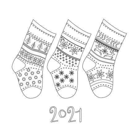 Winter collection of knitted socks with different ornaments in line art style.Warm woolen Scandinavian knee-highs for presents.Happy New Year 2021 and Christmas card.Children's accessory,sale template 矢量图像