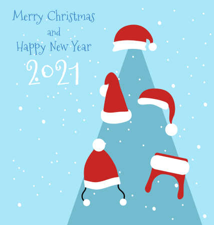 Happy New Year 2021 postcard.Christmas tree decorate with different santa hats.Snowflakes around.Vector in minimalist style for print,promo flyer,gift certificate.Traditional accessory with pom poms