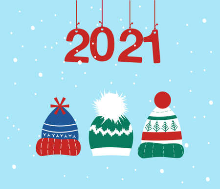 Knitted headwear collection,cosy scandinavian winter hats and caps.Happy New Year 2021 and Christmas postcard.Numbers are hanging on ribbons, it is snowing.Childish accessory with pom poms,snowflakes 矢量图像
