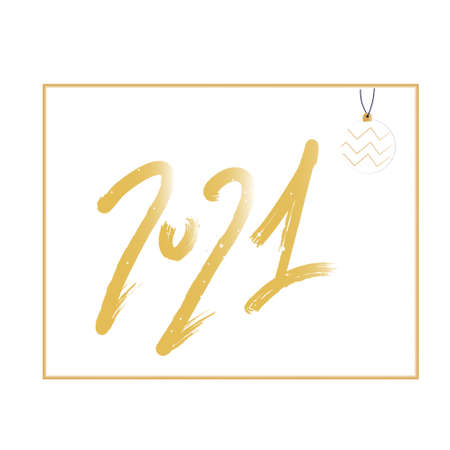 Happy New Year 2021 greeting card with gold lettering.Christmas tree toy with geometric zigzag, snowflakes around. Winter holidays celebration.Template for promo sale.Vector illustration in flat style