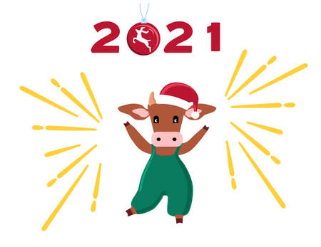 Happy Chinese New Year 2021. Ox or cow is a new symbol. Merry Christmas greeting card.The bull in Santa claus hat is dancing, around the fireworks, magic ball tree toy with deer. Lettering numbers. 矢量图像