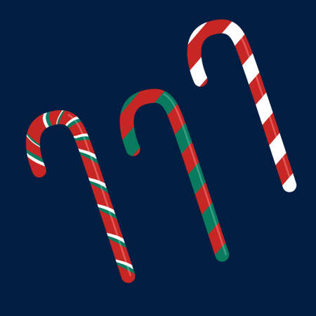 Candy cane sweet sticks.Christmas or New Year festive flat icon.Red cane with white and green stripes isolated on dark blue background.