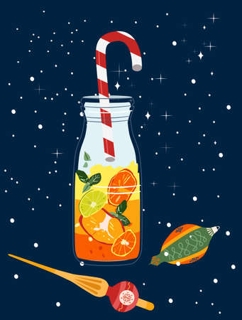 New Year's citrus mulled wine with striped red-white tube.Christmas tree toys in retro style.Cocktail in a trendy glass jar.It's snowing,concept for postcard with winter holidays,chimes,making wishes