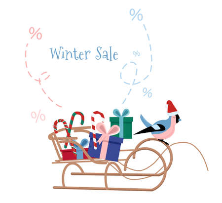 Christmas or New Year 2021 winter sale concept with sleigh full of presents.Special offer,discount. Bullfinch in santa claus hat runs a sled.