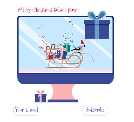 Christmas or New Year 2021 discount for educational or entertainment promotion.Desktop computer with sleigh full of presents.Special offer,winter sale.Bullfinch in santa claus hat runs a sled