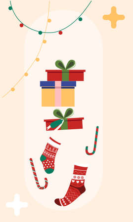 Christmas warm stockings and present boxes in retro style. Happy New Year 2021 greeting card with candy canes,garlands with lights.Winter holidays template for gift certificate,seasonal sale,poster. 矢量图像