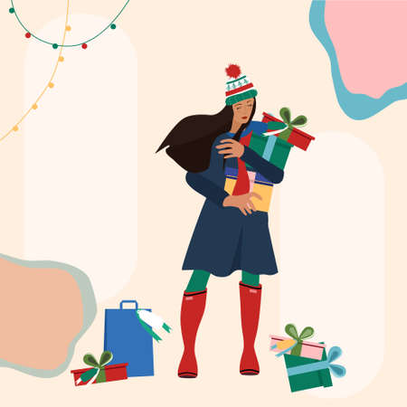 Cute young woman in warm winter clothes making holiday shopping.Carrying Christmas presents from street market in hands.Truss of gift boxes with bow,packets lie around.Template for your wish text 矢量图像