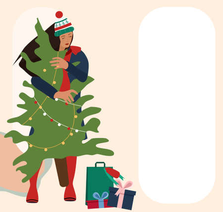 Cute young woman in warm winter clothes making holiday shopping.Carrying Christmas tree from street market in hands.Gift boxes with bow,packets with presents lie around. Template for your wish text. 矢量图像