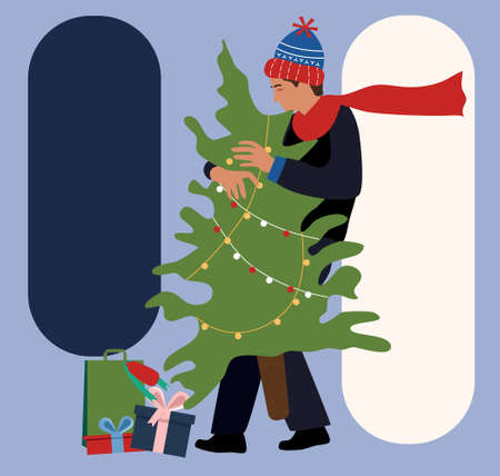 Young man in warm winter clothes,knit hat and scarf makes holiday shopping.Carrying Christmas tree from street market.Presents boxes with bow lie around.Gifts delivery.Templates for your text,promo