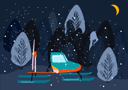 Snowmobile or motor sled in trendy colours.Winter night landscape with forest.Self-propelled vehicle with a screw as a engine,ski-supported,designed for movement on ice.New Year 2021.Explore Arctic 矢量图像