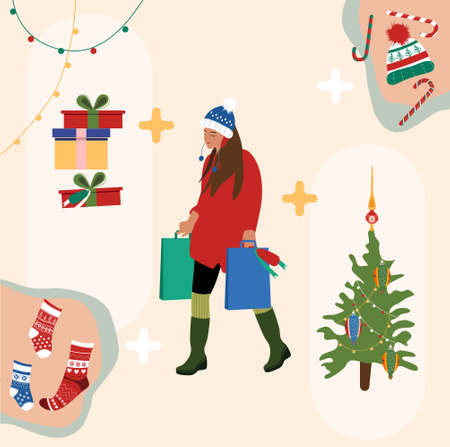 Ingredients of New Year`s mood.Girl in warm winter clothes making shopping.Christmas tree from street market.Gift boxes and garlands around.Woman holding packets with presents.Preparation for holidays