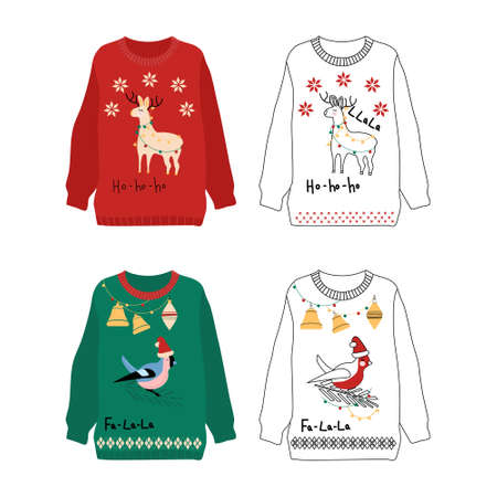 Knitted sweaters for merry Christmas celebration. Warm winter clothes from wool.4 garment items with cute llama, bullfinch, garlands and toys.New year poster for seasonal sale,gift card or promo flyer 矢量图像
