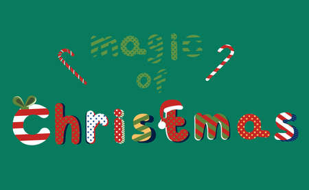 Magic of Christmas hand drawn lettering in Pop Art style. Text Xmas in traditional red and green colours.Candy canes and Santa hat.Striped and dotted pattern for text.Vector for gift card,flyer,banner